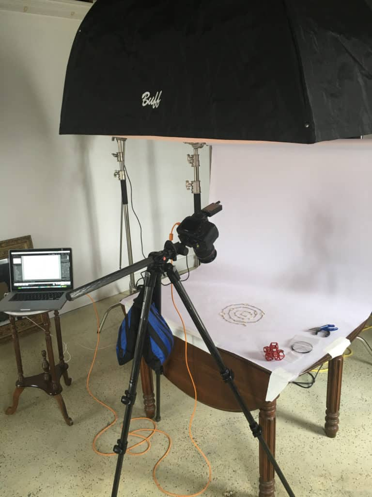 commercial photo studio with camera and lighting